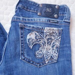 Miss Me jeans bootcut Fleur de Lis 30 denim bling